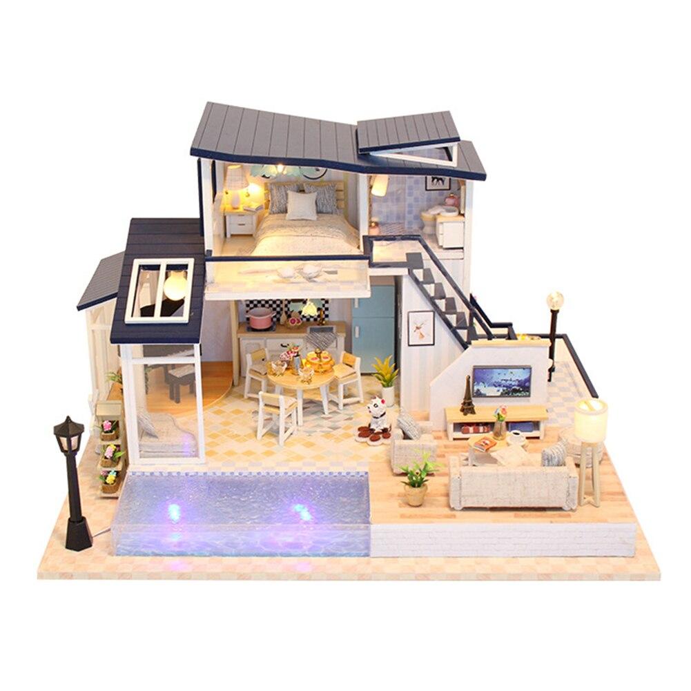 Modèle fait à la main Mini Villa en bois cabine 3D cadeau Miniatures meubles éducatifs lumière LED maison de poupée décoration bricolage
