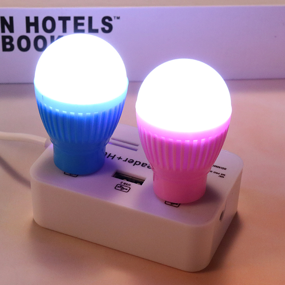 USB Night Light LED Bulb Camping Lamp Round Outdoor Emergency Lamp Laptop Computer Energy Saving Reading Book Light Random Color