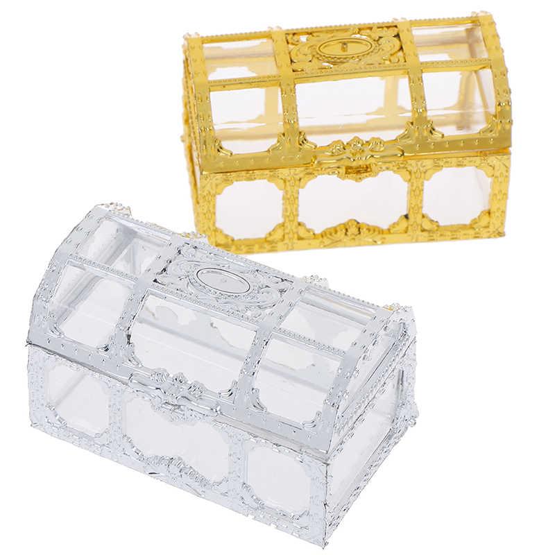 แบบพกพากล่องยุโรป Hollow Gold Silver Treasure Chest เครื่องประดับแหวนสร้อยคอ Organizer กรณีพกพาเก็บกล่อง
