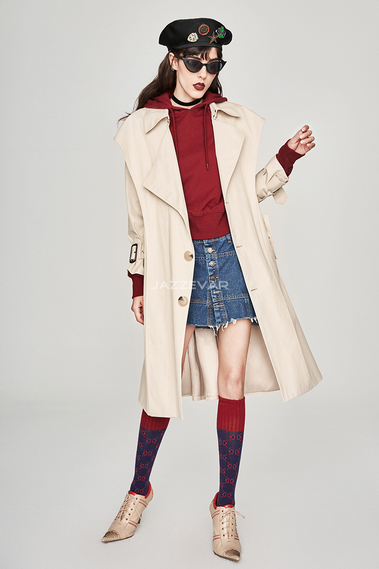 Khaki Windbreaker Women 2019 Autumn New Waist Slim Windbreaker Coat Women Pockets Women Clothes Jackets Coat in Trench from Women 39 s Clothing
