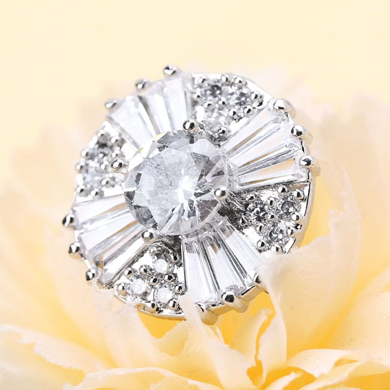 1Pc 17mm Glitter Zircon Round With Cross Shape Decorative Buttons With Metal Loo 50PF
