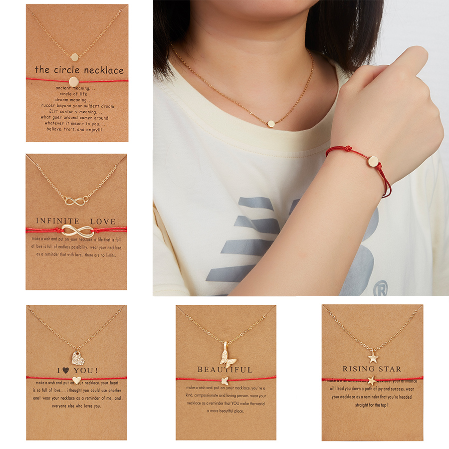 2pcs Necklace Bracelet Jewelry Set for Women Infinite 8 Gold Chain Necklace Red String Bracelet Set Couple Jewelry Wish Card