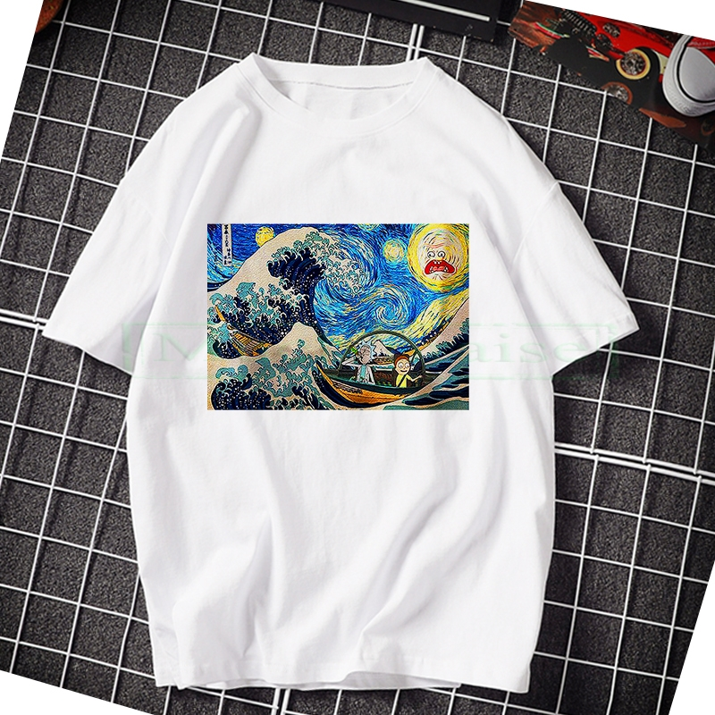 Men's High Quality T-shirt Short Sleeve Cotton Crewneck Loose Rick And Morty Printed Men Tshirt Casual Knitted Mens T-shirt Tops