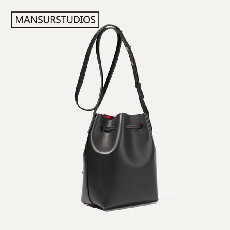 Image 5 - MANSURSTUDIOS MINI Bucket Bag Mansur women Real Leather Shoulder 