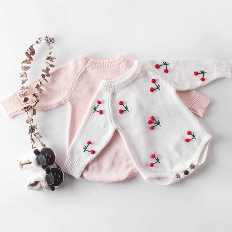 Baby Girl's knit Rompers Long Sleeve Wool Knitted Cherry Rompers Baby Princess Triangle Jumpsuit Toddler  Autumn Winter Clothing