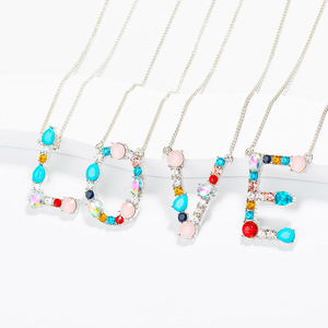 Initial 26 Letter Pendant Necklace Multicolor Zircon Micro Pave Alphabet Charm Necklace Gold Silver Color Name Jewelry Xmas Gift