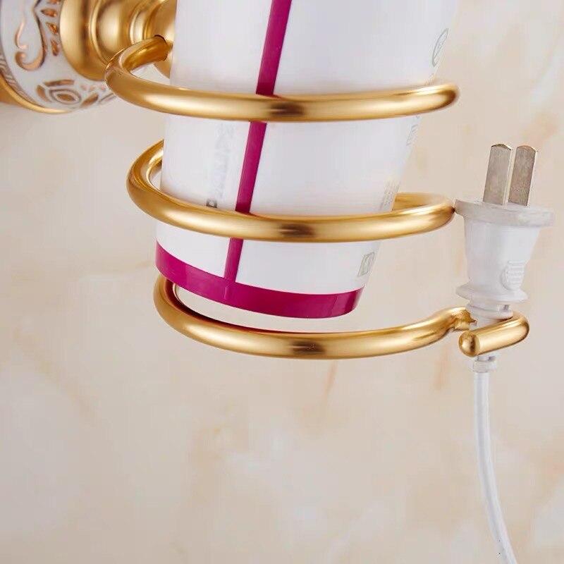 Винтаж золото фен фен держатель брашированная керамика ванная органайзер полка настенный навесной