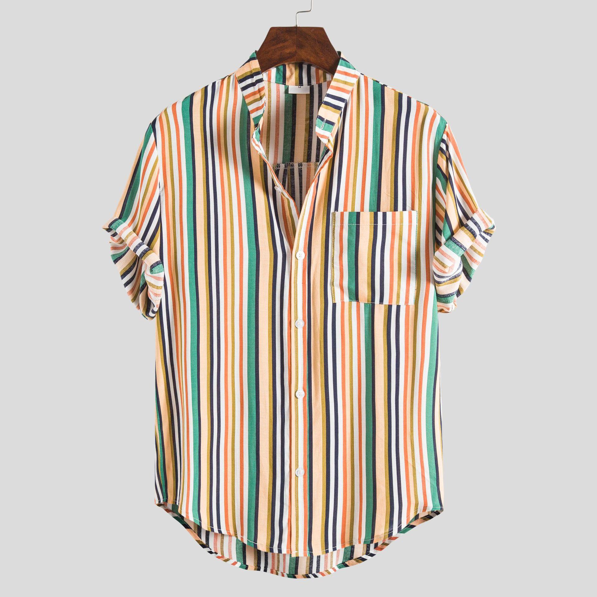 2020 National Style Short-sleeved Shirt Striped Slim Shirt Short-sleeved Shirt Male