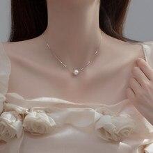 925 prata esterlina pequena pérola colar de água doce natural contas redondas 6mm 8mm 10mm simples jóias femininas