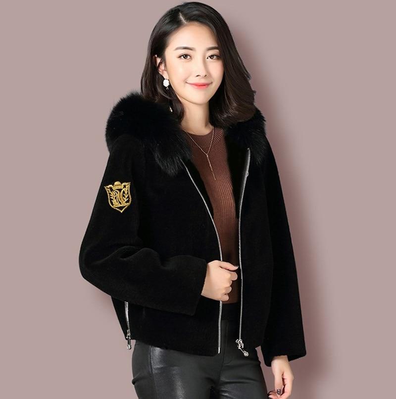 Winter Sheep Shearing Fox Fur Coat Female Wool Jacket Korean Warm Women's Fur Coats Elegant Women Clothes 2020 Hiver 5271