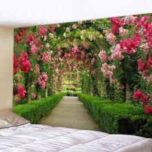 Настенный гобелен с арочной дорожкой и цветами индийский мандалой