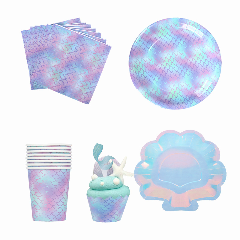 Mermaid Party Under The Sea Scale Paper Plate Cup Girl Birthday Party Supplies Mermaid Tail Shell Starfish Balloon Cake Topper