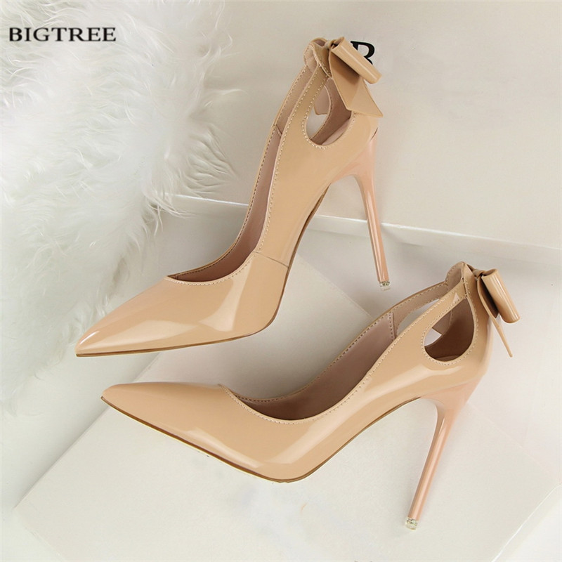 Spring Elegant Pumps Sexy High-heeled Shoes Sweet Bow Patent Leather Thin High Heels Shoes Pointed Hollow Shoes G3168-8