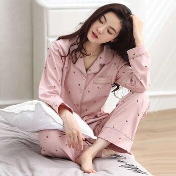 Autumn Women Pajamas Sets Cotton Fresh Style Sleepwear Set  O-Neck Pyjamas Female Pijamas Female Casual Homewear Mujer fresh leaf pyjamas women 2020 autumn fall stitch pijamas set 100