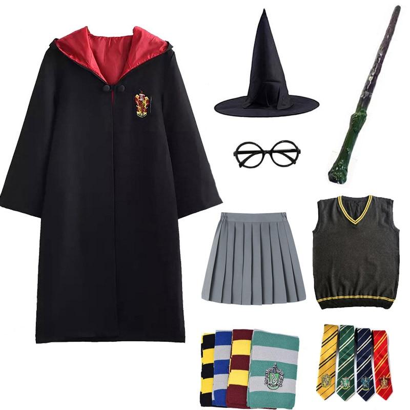 Robe manto potter cosplay trajes adultos crianças potter roupas hermione uniforme escolar halloween presentes cosplay adereços dropshipping