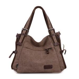Image 1 - Bolso de hombro de lona para mujer, bandolera de mano con asa superior, grande, para compras/bandolera de viaje