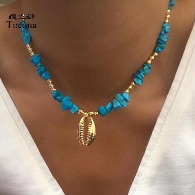 Tocona Bohemian Natural Stone Neckalce for Women Charms Beach Sea Gold Shell Pendant Chain Chockers Summer Jewelry D05503