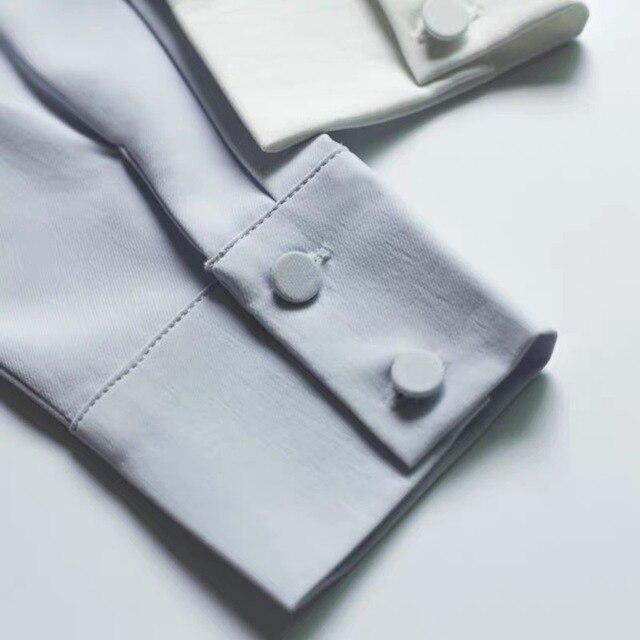 2020 Summer Women Chiffon Blouse New Fashion Female Long Sleeve Casual Soild Thin Shirt V-neck Blouses Pullover Tops 5