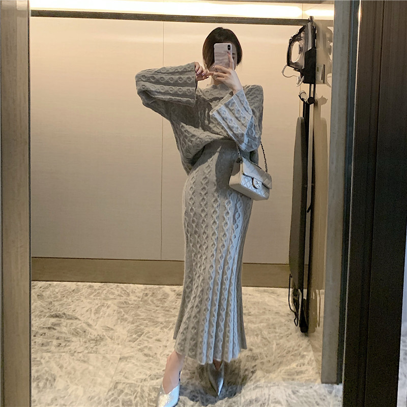 Hee117ad7323c467f9e064551375d112d7 - Autumn / Winter O-Neck Loose Grey Jumper and Knitted Maxi Skirt