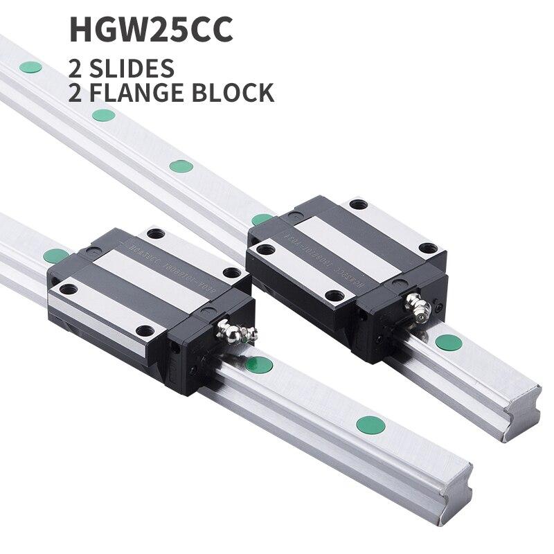 4pcs linear block arriage HGR25 linear guide 2pcs linear guide rail any length