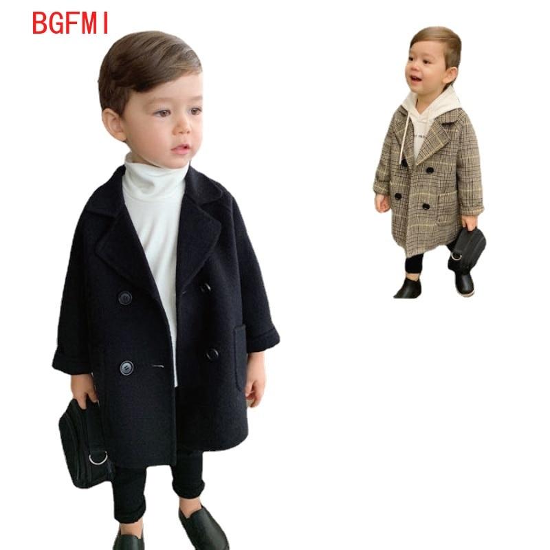 Winter Grid Jackets Boys Girls Woolen Double-breasted Baby Boy Trench Coat Lapel Autumn Kids Outerwear Coats Wool Coat Overcoat