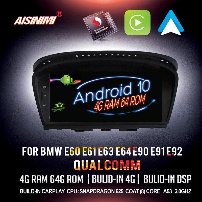 Aisinimi qualcomm android 10 carro dvd navi player para bmw série 3 e90 e91 e92 bmw série 5 e60 e61 e63 monitor de áudio do carro estéreo