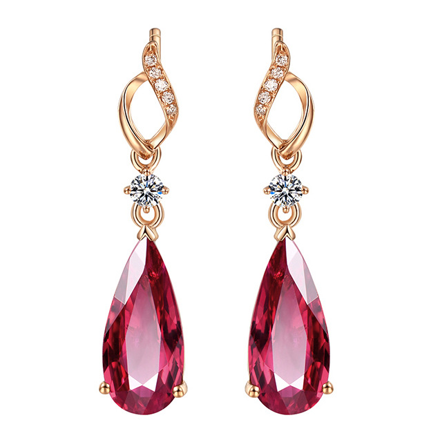 Luxury Rose Gold & Crystal Red Women's Waterdrop Earrings