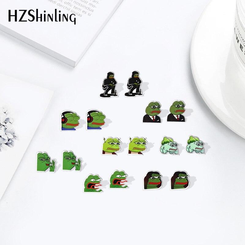 2019 Pepes_Frogs_Sticke Acrylic Earrings Shrinky Dinks Earrings Cartoon Sweet Ear Resin Epoxy Fashion Jewelry Gifts