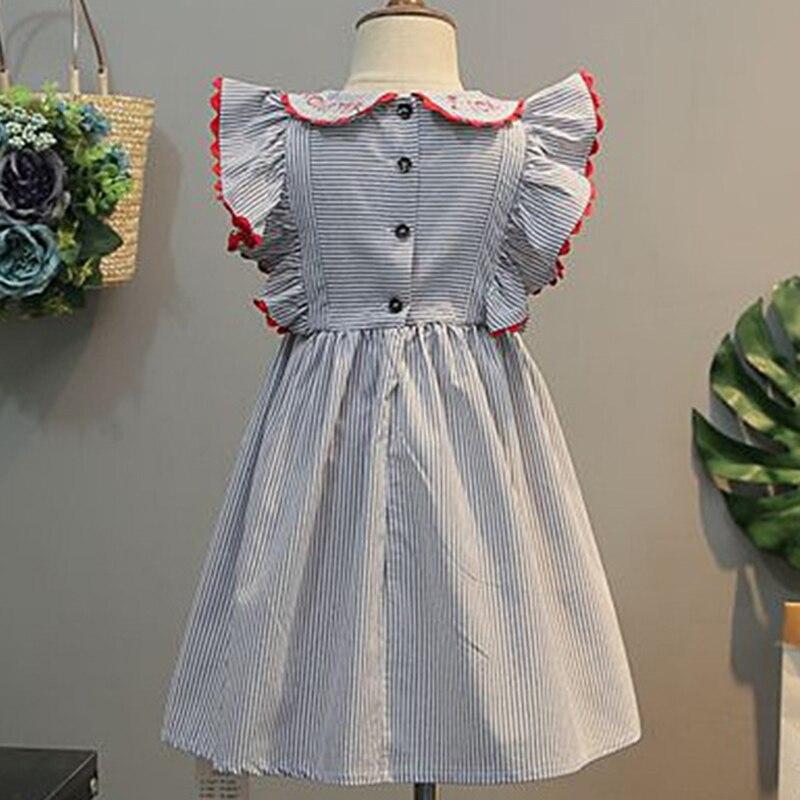 2021 New Summer Baby Girls Princess Dress Kids Wedding Party Dresses Children Embroidery Stripe Elegant Dress Cotton Clothing 2