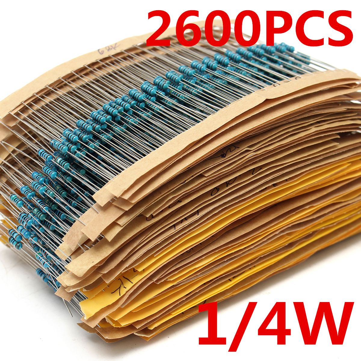 2600 pièces 130 valeurs 1/4W 0.25W 1% résistances à Film métallique assortiment Kit Lot de résistances assortiment Kits condensateurs fixes