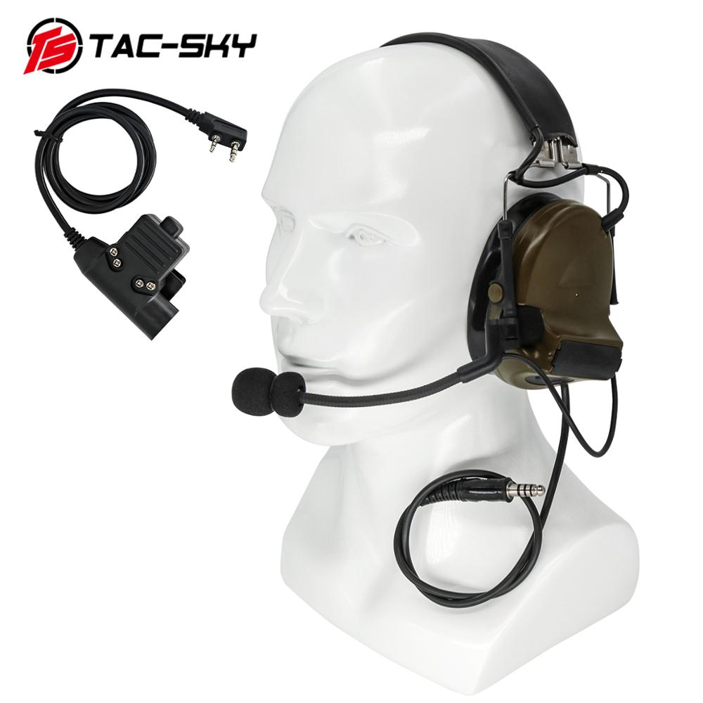 TAC-SKY U94 Kenwood Plug PTT + COMTAC II Silicone Earmuffs Noise Reduction Pickup Military Shooting Tactical Headset FG