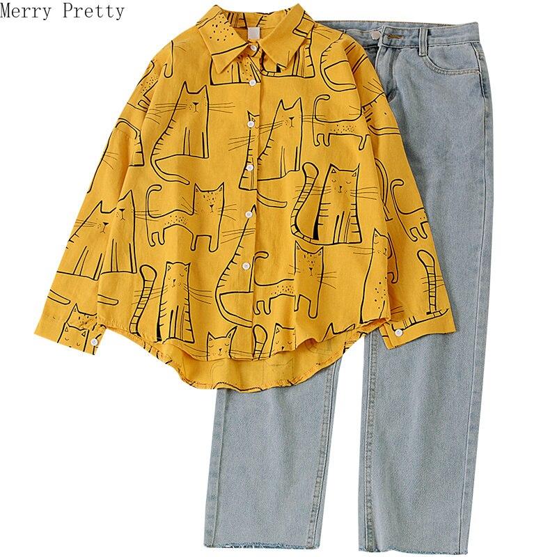 Women's Set Cartoon Cat Print Turndown Collar Blouses And Denim Pants Pockets Jeans Pants 2020 Sweet Style Girl Two Piece Sets