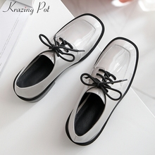 Shoes Krazing-Pot Pumps Med-Heels Genuine-Leather Basic Lace-Up L55 Daily-Wear Round-Toe