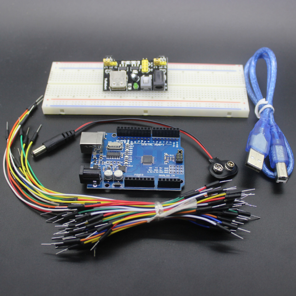 Starter Kit for Arduino R3 - Bundle of 5 Items: R3 board, Breadboard, Jumper Wires, USB Cable and 9V Battery Connector