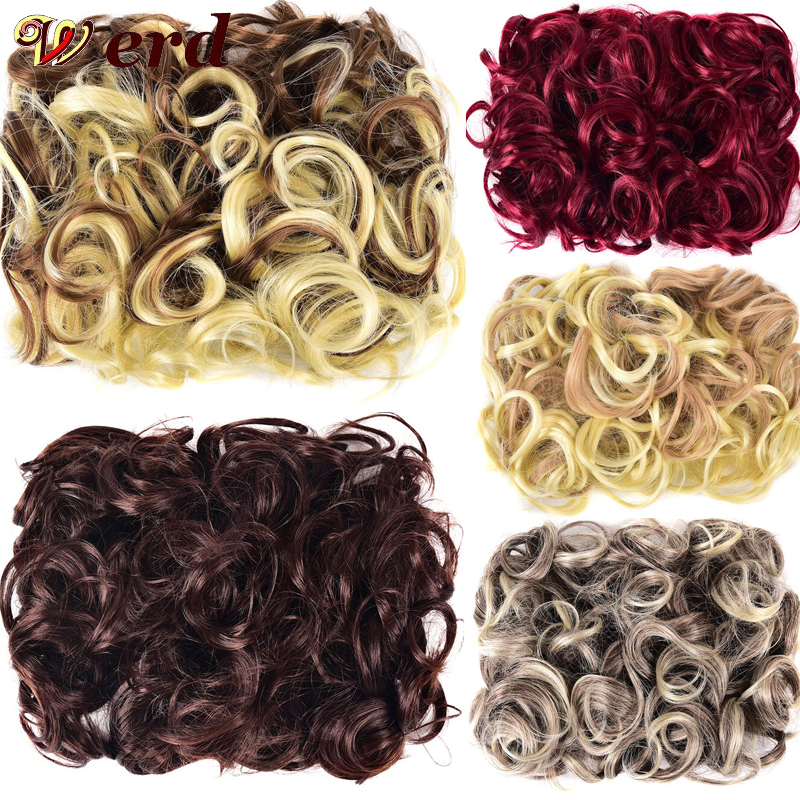 WERD Curly Chignon Updo Hair Bow Two Comb Plastic Clip In Hair Extensions Chignon Synthetic Hairpieces For Women Hair