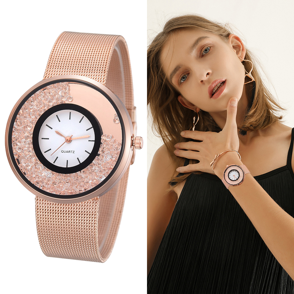 2018 New Fashion Stainless Steel Gold & Silver Band Quartz Watch Luxury Women Rhinestone Watches Valentine LS057