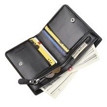 Модный Роскошный кожаный брендовый мужской кошелек с отделением для монет на молнии, маленькие кошельки для денег, тонкий кошелек с зажимом для денег