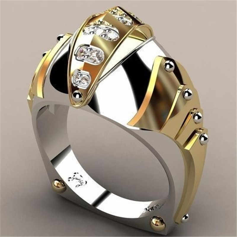 Luxus Männlich Weiblich Große Kristall Stein Ring Gold Farbe 925 Silber Hochzeit Schmuck Versprechen Engagement Ringe Für Männer Und Frauen