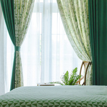American Curtains for Living dining Room Bedroom Green Mosaic Curtain Flowers and Arts Pastoral Cotton and Linen Curtains Custom modern simple cotton linen stereo embroidery curtain dolly curtain screen american country curtains for living room and bedroom