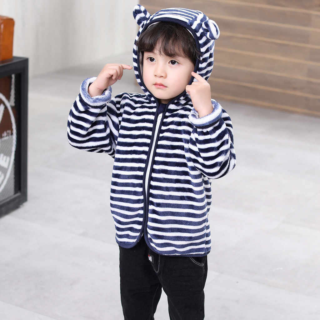Toddler Kid clothes Winter Baby Girls Clothing 2019 Autumn Boy Cute Ear Zipper Print Long Sleeves Thick Hooded Coat Warm Outwear