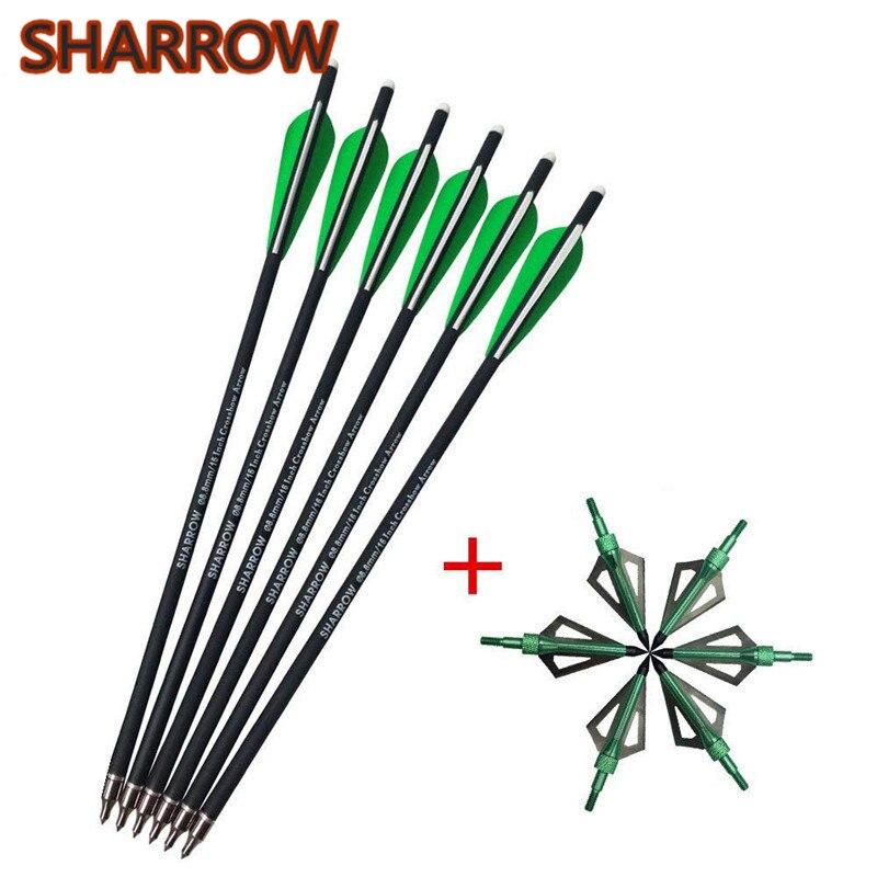 "Archery Hunting Arrowheads Broadheads 100gr 6pcs 16/"" Crossbow Carbon Arrows"