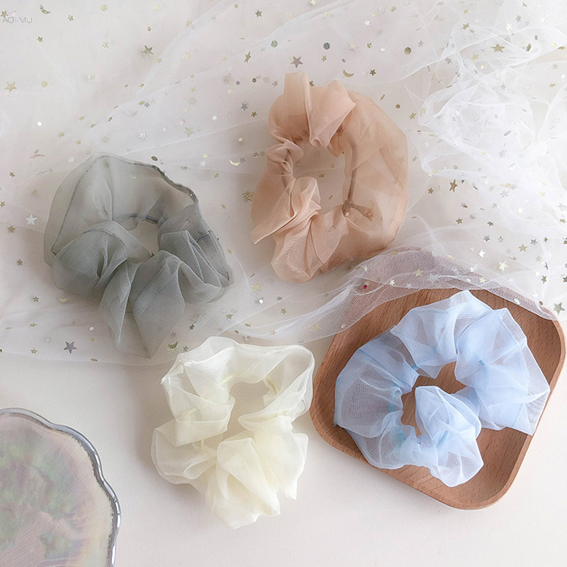 AOMU 2019 Women Solid Chiffon Scrunchies For Ponytail Holder Girls Transparent Cloth Elastic Hair Rope Hair Tie Hair Accessories