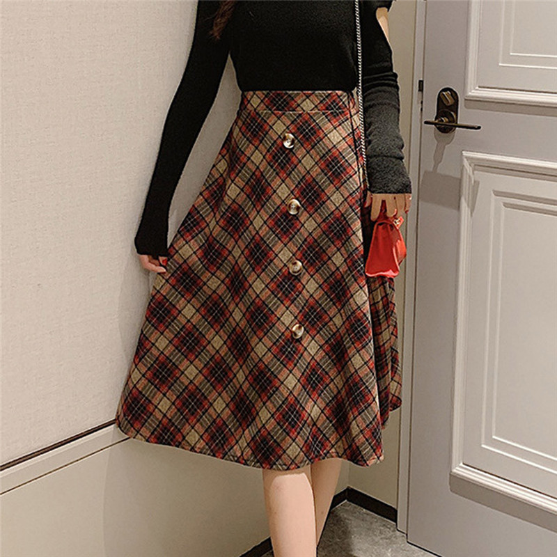Autumn Winter Women Sexy High Waist A-Line Skirts Fashion Casual Plaid Button Long Fit Skirts Streetwear Jupe Tulle Skirts @C