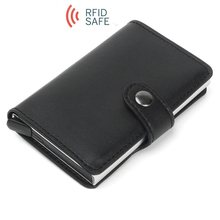 Anti Rfid Blocking Protection Men id Credit Card Holder Wallet Leather Metal Aluminum Business Bank Card Case Cardholder(China)