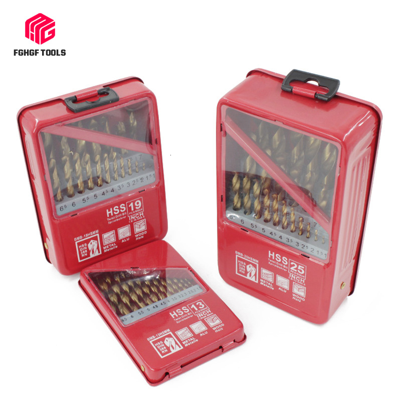 FGHGF 13/19/25PCS 1.0~13mm HSS Titanium Coated Drill Bit Set Metal For Woodworking Drilling Power Tools Accessories In Iron Box