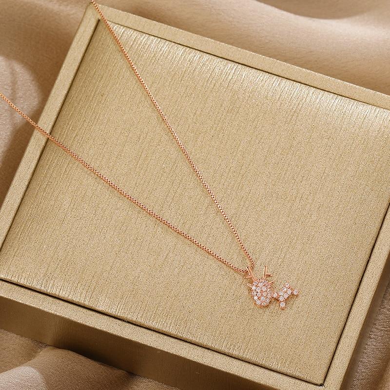 Little elk necklace female cute girl heart forest student fairy light luxury cartoon deer pendant clavicle chain
