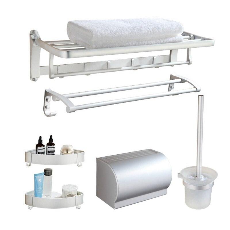 Wall Mounted Towel Bar Single Towel Ring Hook Towel Rack Toilet Brush Bathroom Accessories kit Storage Rack Aluminum Alloy|Storage Holders & Racks| |  - title=