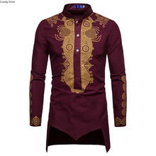 African Gold Dashiki Shirt Long Sleeves Mens Turtleneck Half Button High Collar Tailcoat Tunic Groom Tops For Men Plus Size