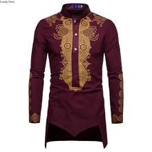 זהב אפריקאי דאשיקי חולצה ארוך שרוולים Mens גולף חצי כפתור גבוהה צווארון מעייל פראק טוניקת חתן חולצות לגברים בתוספת גודל