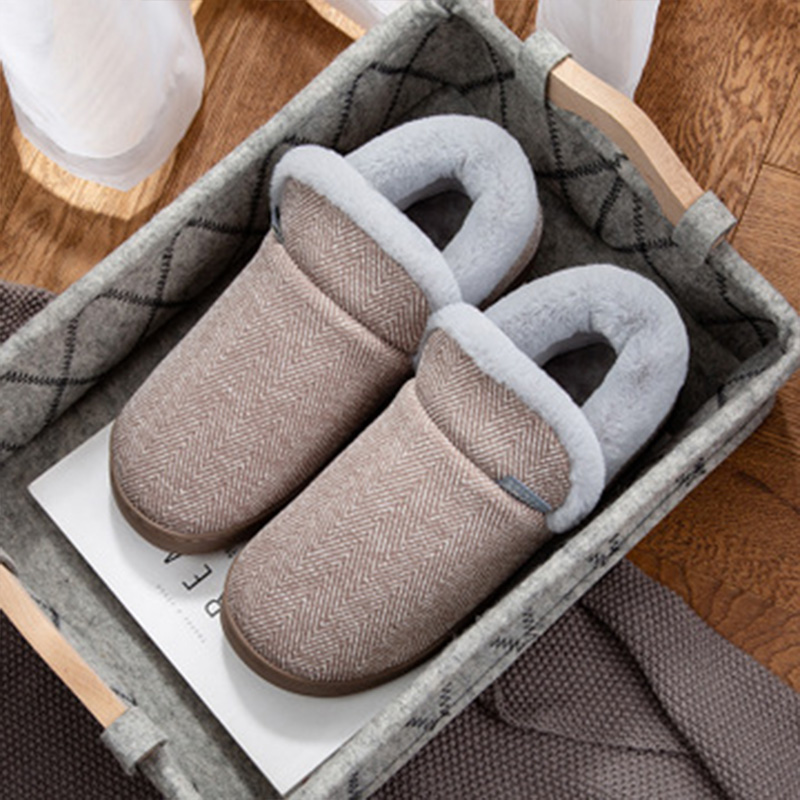Winter Home Cotton Shoes Men Slippers Warm Couples Footwear Male Cotton Linen Material Plush Comfortable Soft Indoor Slippers